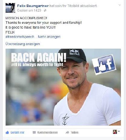 Felix Baumgartner Facebook